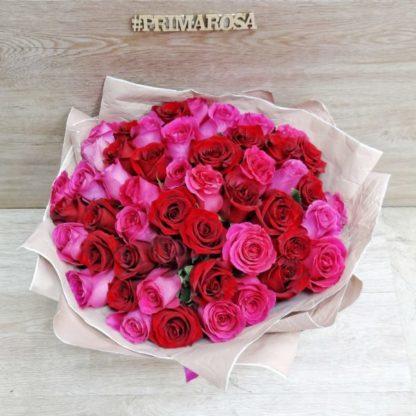 51 красно-розовая роза Эксплоуэр + Пинкфлойд