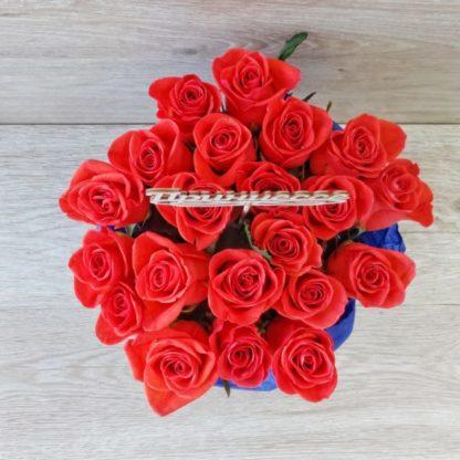 25 роз Вау в шляпной коробке
