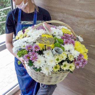 25 хризантем микс в корзине